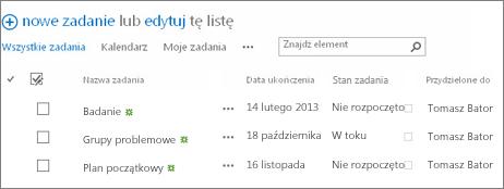 Lista na stronie