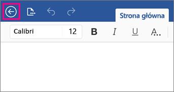 Przedstawia przycisk Wstecz w programie Word 2016 dla iPad.