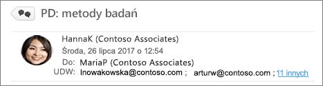 Wyświetlanie adresatów z pola UDW w folderze Wysłane