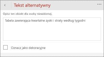 Okno dialogowe tekst alternatywny w przypadku tabel w programie PowerPoint dla telefonów z systemem Windows.