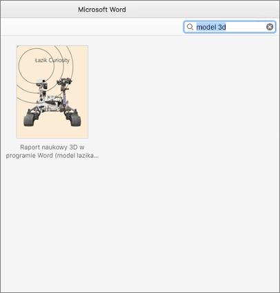 Znajdowanie szablonów modeli 3D w programie Word dla komputerów Mac