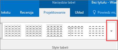 Zrzut ekranu przedstawiający sześć pierwszych stylów tabeli i przycisk Więcej umożliwiający wyświetlenie wszystkich stylów tabeli.