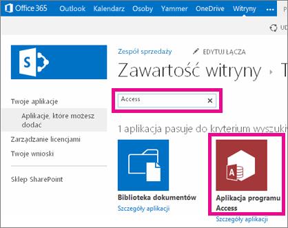 Wyszukiwanie aplikacji programu Access ze strony dodawania aplikacji w programie SharePoint