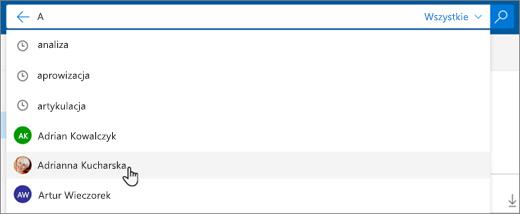 Zrzut ekranu przedstawiający sugerowane osoby w wynikach wyszukiwania