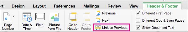 Kliknij przycisk Połącz z poprzednim, aby przełączać się między połączeniem nagłówka lub stopki z odpowiadającym mu elementem w poprzedniej sekcji.