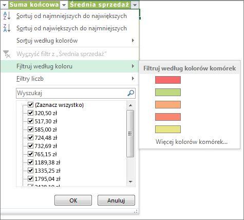 Opcje filtrowania według koloru