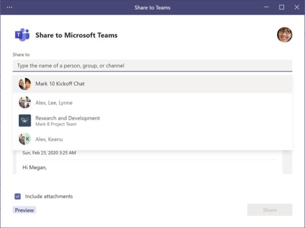 Udostępnij w aplikacji Teams — ekran wybieranie adresatów