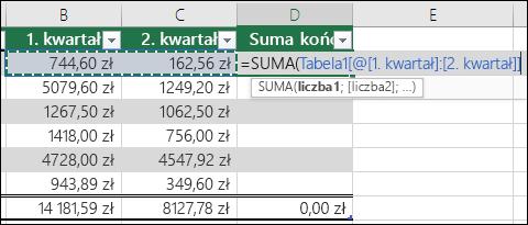 Dodawanie jednej formuły w komórce tabeli, która będzie automatycznie uzupełniał, aby utworzyć pole obliczeniowe