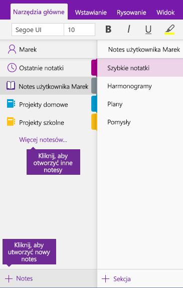 Zrzut ekranu przedstawiający sposób tworzenia nowego notesu programu OneNote