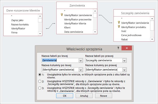 Zrzut ekranu przedstawiający trzy tabele i ich Właściwości sprzężenia
