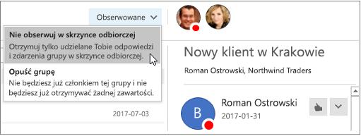 Subskrybuj przycisk w nagłówku grupy w Outlook 2016