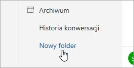 Zrzut ekranu przedstawiający przycisk Nowy folder