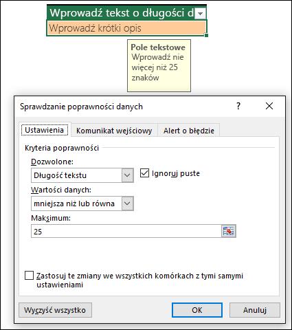 Przykład sprawdzania poprawności danych z ograniczeniem długości tekstu
