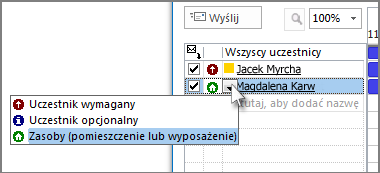 Kliknij ikonę z lewej strony nazwiska, a następnie kliknij pozycję Zasób