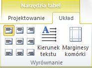 Karta Układ w obszarze Narzędzia tabel