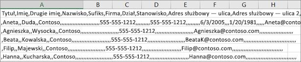 Przykład pliku csv zapisanego w formacie xls.
