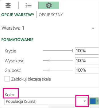 Pole listy Seria danych dla listy rozwijanej Kolor