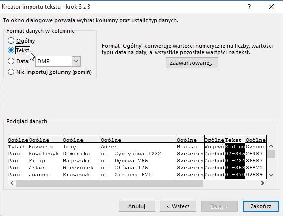 Opcja Tekst w obszarze Format danych kolumny jest wyróżniona w Kreatorze importu tekstu.