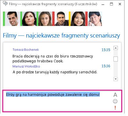 Zrzut ekranu przedstawiający okno pokoju rozmów zawierające wiadomość ze zmienioną czcionką i dodanym emotikonem.