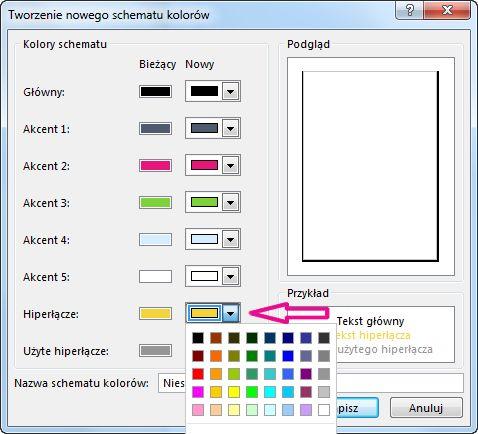 Tworzenie nowego schematu kolorów programu Publisher w celu zmienienia koloru hiperłączy