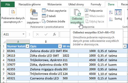 Arkusz kalkulacyjny programu Excel z zaimportowana lista i; wyróżniony przycisk Odśwież wszystko.