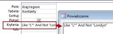Obraz projektu zapytania wykorzystującego operatory NOT oraz AND NOT przed tekstem wykluczanym z wyników wyszukiwania