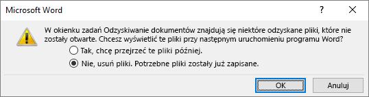 Okno dialogowe zapisywania odzyskiwania dokumentu