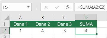 Prawidłowa budowa formuły. Zamiast =A2+B2+C2 formuła w komórce D2 to =SUMA(A2:C2)