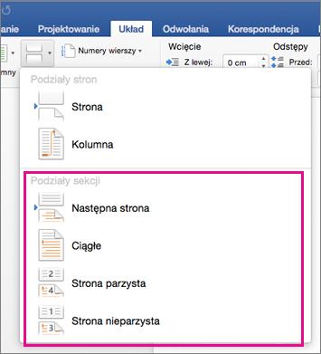 Na karcie Układ wyróżnione jest menu Podziały sekcji