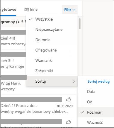 Zrzut ekranu przedstawiający menu Filtr z wybraną pozycją Sortuj według