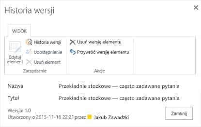 Okno dialogowe historii programu SharePoint 2016 przedstawiające poprzednią wersję