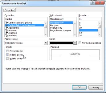 Okno dialogowe formatowania z wybraną pozycją indeksu górnego.