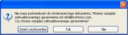 Okno dialogowe w programie Word z informacją, że dokument z ograniczonymi uprawnieniami został przesłany dalej do osoby nieupoważnionej