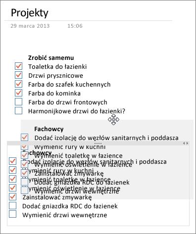 Na stronie w programie OneNote można przenosić kontenery notatek.