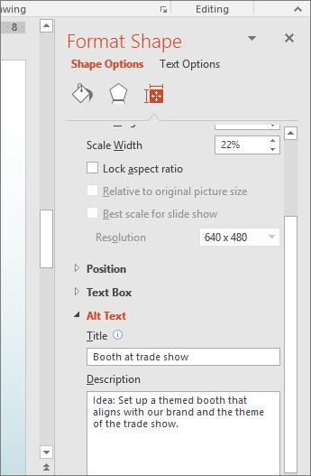 Zrzut ekranu przedstawiający okienko Formatowanie kształtu z polami obszaru Tekst alternatywny zawierającymi opis zaznaczonego kształtu