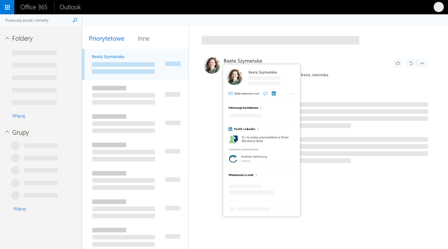 Karta profilu w programie Outlook