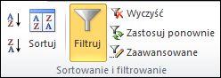 Polecenie Filtr w grupie Sortowanie i filtrowanie na karcie Dane