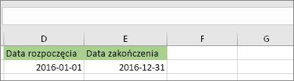 Data rozpoczęcia w komórce D53 to 2016-01-01, data zakończenia w komórce E53 to 2016-12-31