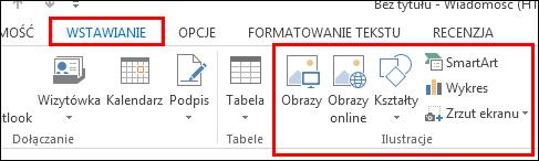 Wstawianie obrazu w programie Outlook 2013