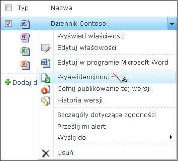 Lista rozwijana pliku programu Word wybranego na liście programu SharePoint. Polecenie Wyewidencjonuj jest wyróżnione.