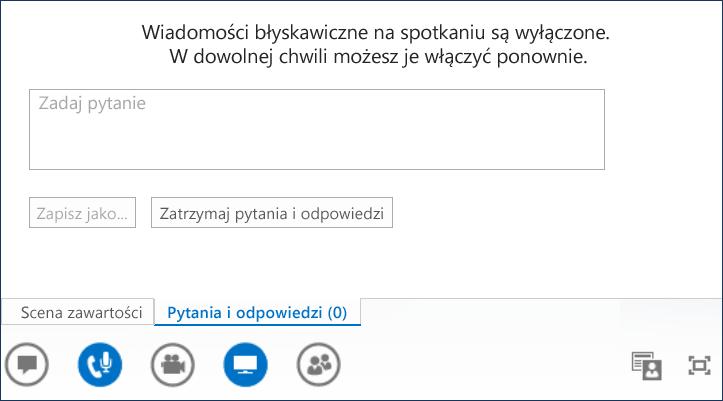 Zrzut ekranu: prezentowanie pytań i odpowiedzi
