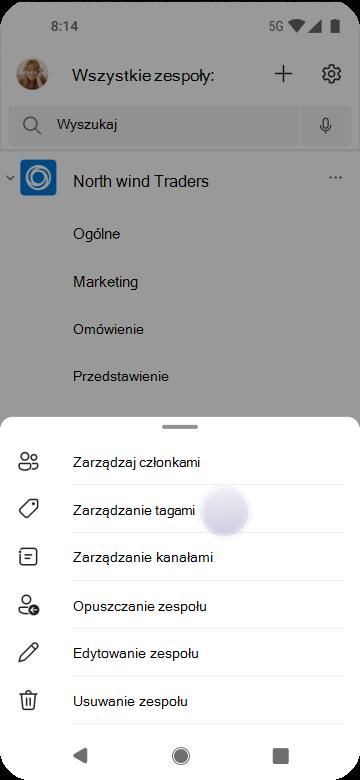 Zarządzanie tagami w aplikacji Teams za pomocą systemu Android