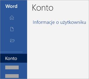 Zrzut ekranu przedstawiający obszar Konto w aplikacji pakietu Office