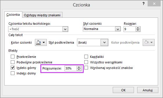Okno dialogowe Czcionka w programie PowerPoint