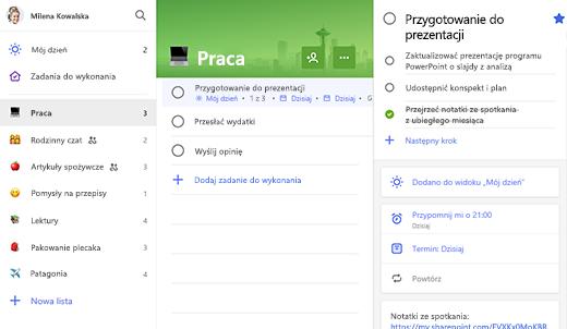 Zrzut ekranu przedstawiający listę zadań służbowych z przygotowywaniem otwarcia prezentacji w widoku szczegółów