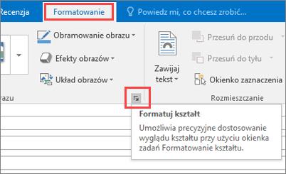 Wycinek ekranu interfejsu użytkownika programu Outlook przedstawiający kartę Formatowanie z zaznaczoną opcją Formatuj kształt.