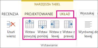 Obraz opcji układu dotyczących dodawania wierszy i kolumn w tabelach