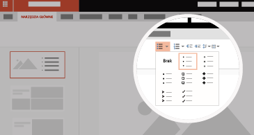 Slajd z powiększonym obszarem przedstawiającym dostępne opcje list i punktorów