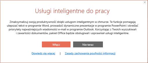 Okno dialogowe wyrażania zgody dla Usług inteligentnych pakietu Office