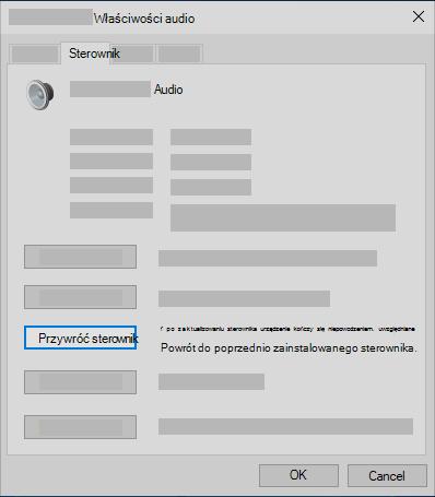 Wycofywanie sterownika audio w Menedżerze urządzeń